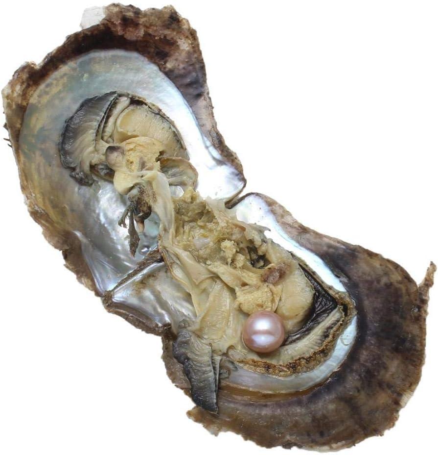 LONGTAP Akoya Ostras con Perlas cultivadas en agua dulce amor deseo, perla ostra 9-10 mm, Perla Ostra, morado