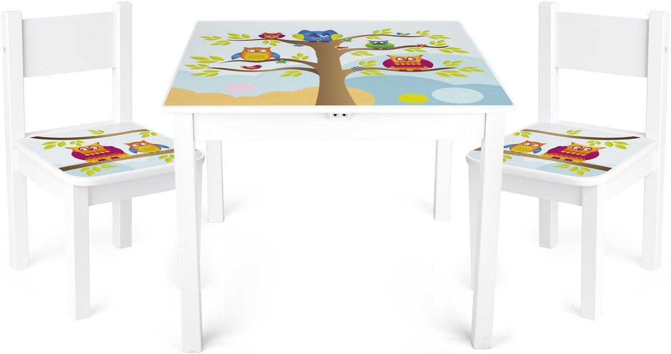Conjunto de mesa y sillas de madera para niños