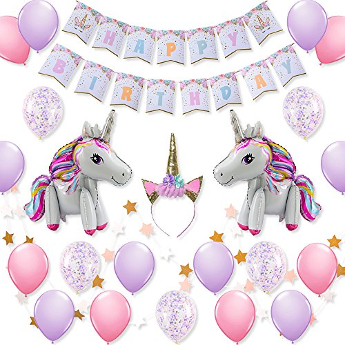 3D Unicorn Balloons Glitter Unicorn Horn Headband with Happy Birthday Banner and Confetti Balloons Latex Balloons for Baby Shower Birthday Party Decorations and Supplies. (Confetti Horn Party)
