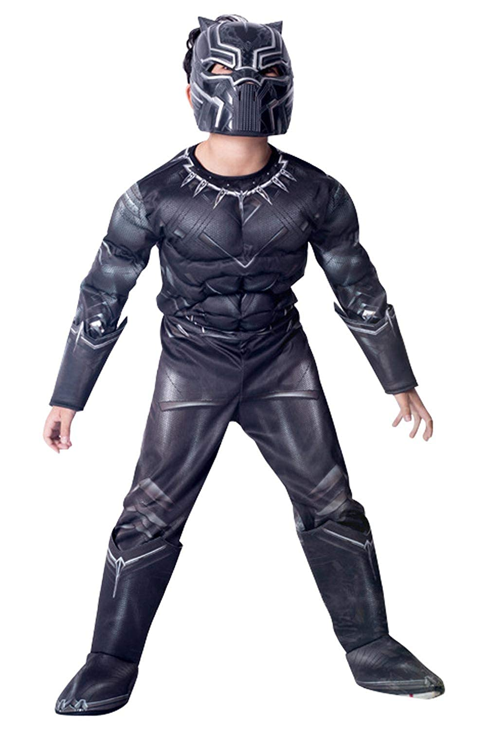 1ad592f3 Amazon.com: CHECKIN Kid Child Black Deluxe Muscle Chest Battle Suit 3D  Black Jumpsuit Bodysuit Halloween Cosplay Costume: Clothing