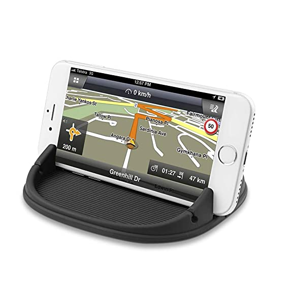 Android Smartphones Samsung Car Phone Mount Silicone Car Pad Mat for Various Dashboards GPS Devices and More. Black Car Mount Anti-Slip Desk Phone Stand Compatible with iPhone