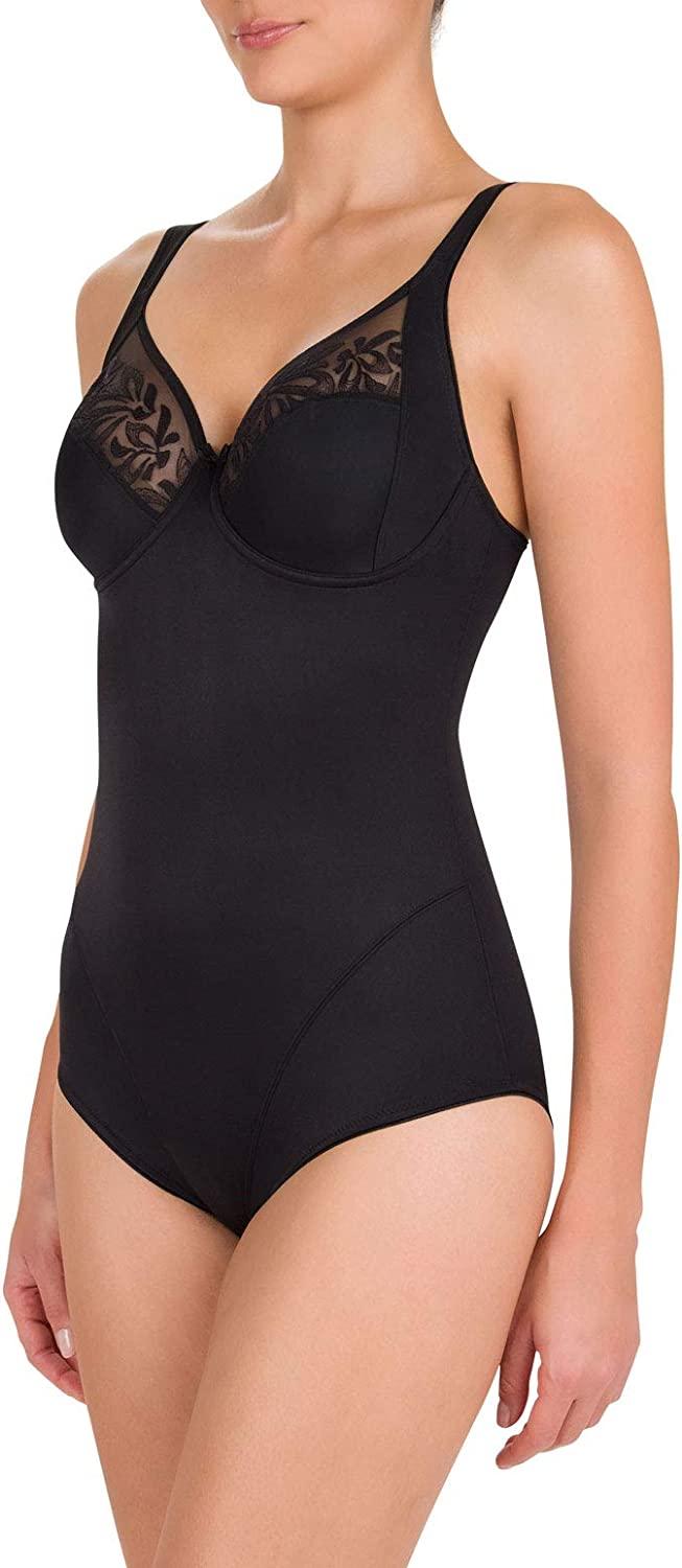 Felina 251217-004 Womens Melody Black Floral Embroidered Underwired One Piece Body