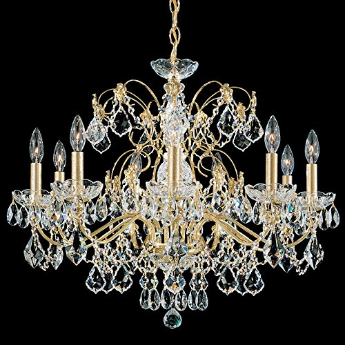Schonbek 1709-23 Century 9-Light Chandelier in Etruscan Gold with Clear Heritage Crystal,