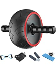 Ab Roller for Abs Workout - 5-in-1 AB Wheel Roller Kit AB Roller Pro with Knee Pad, Jump Rope, Hand Grip and Resistance Band - Perfect Abdominal Core Carver Fitness Workout for Abs