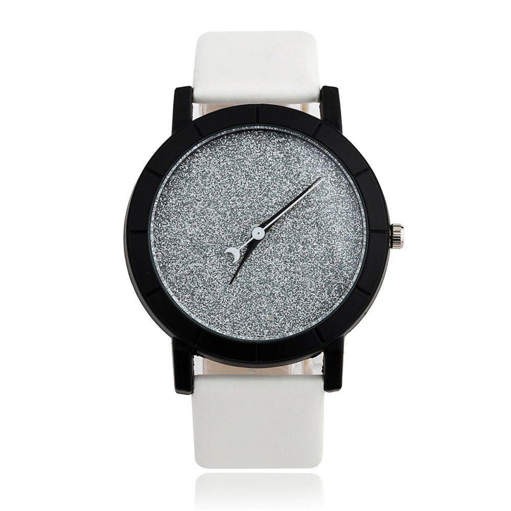 Watches for Lovers,Yamally Unisex Fashion On Leather Strap Star Minimalist Simple Dial Watches White