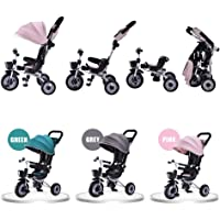 Deluxe Foldable Kids Steer Tricycle Stroller Bike w/Canopy Parent Push Brake