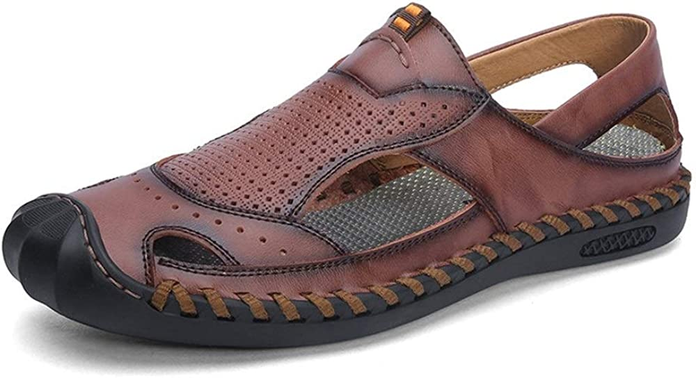 Color : Red, Size : 10.5 M US Kindlov-sho Mens Summer Slippers Leather Water Shoes Sewing Perforated Closed Anti-Collision Toe Summer Beach Sandal for Men Walking Pool Vacation Shoes for Men