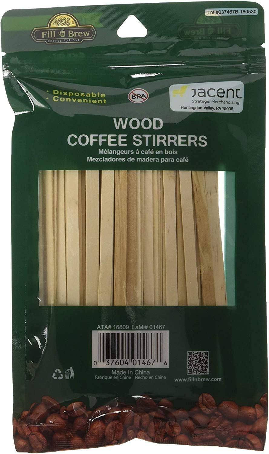 150 count, resealable package Fill n Brew Wood Coffee Stirrers 2 pack