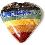 ONE (1) Seven Chakra Stone Heart - Seven Bonded Chakra Stones - Chakra Heart - Rock Paradise Exclusive COA - AM20B7-08