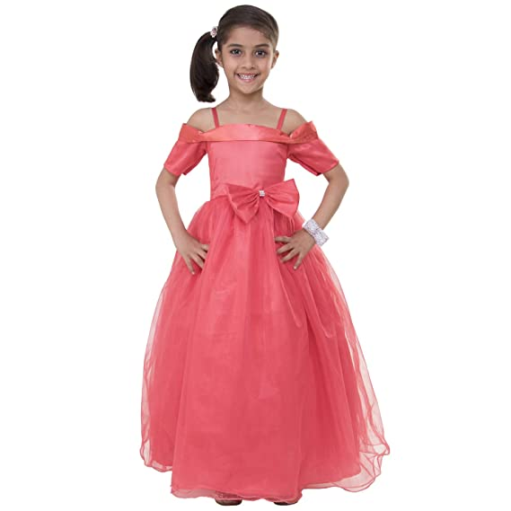 06e87923bd5f Samsara Couture Off Shoulder Coral Colour Party Wear Dress and Gown for  Kids for 1 Year