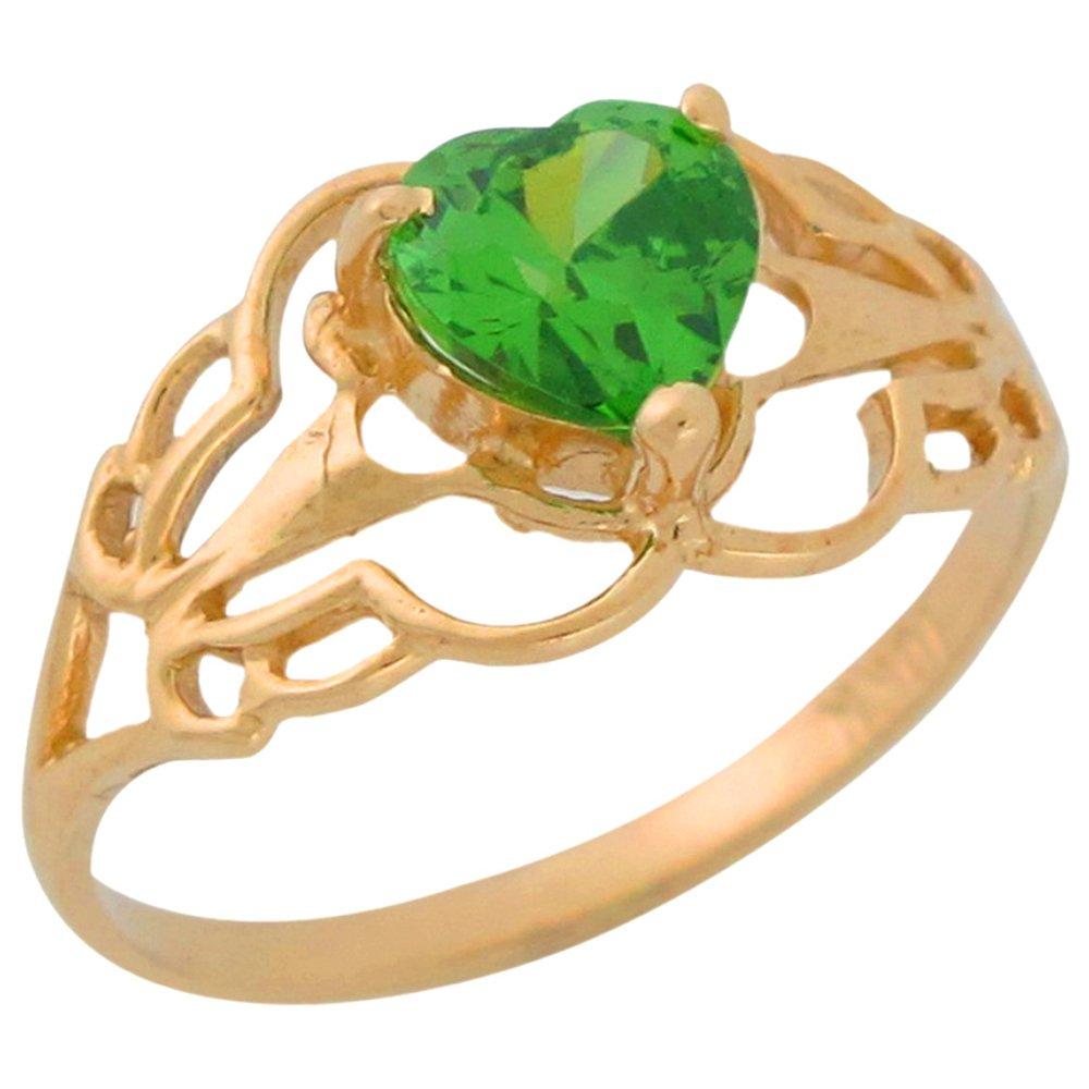 14k Yellow Gold Simulated Peridot Heart Ladies Filigree August Birthstone Ring by Jewelry Liquidation