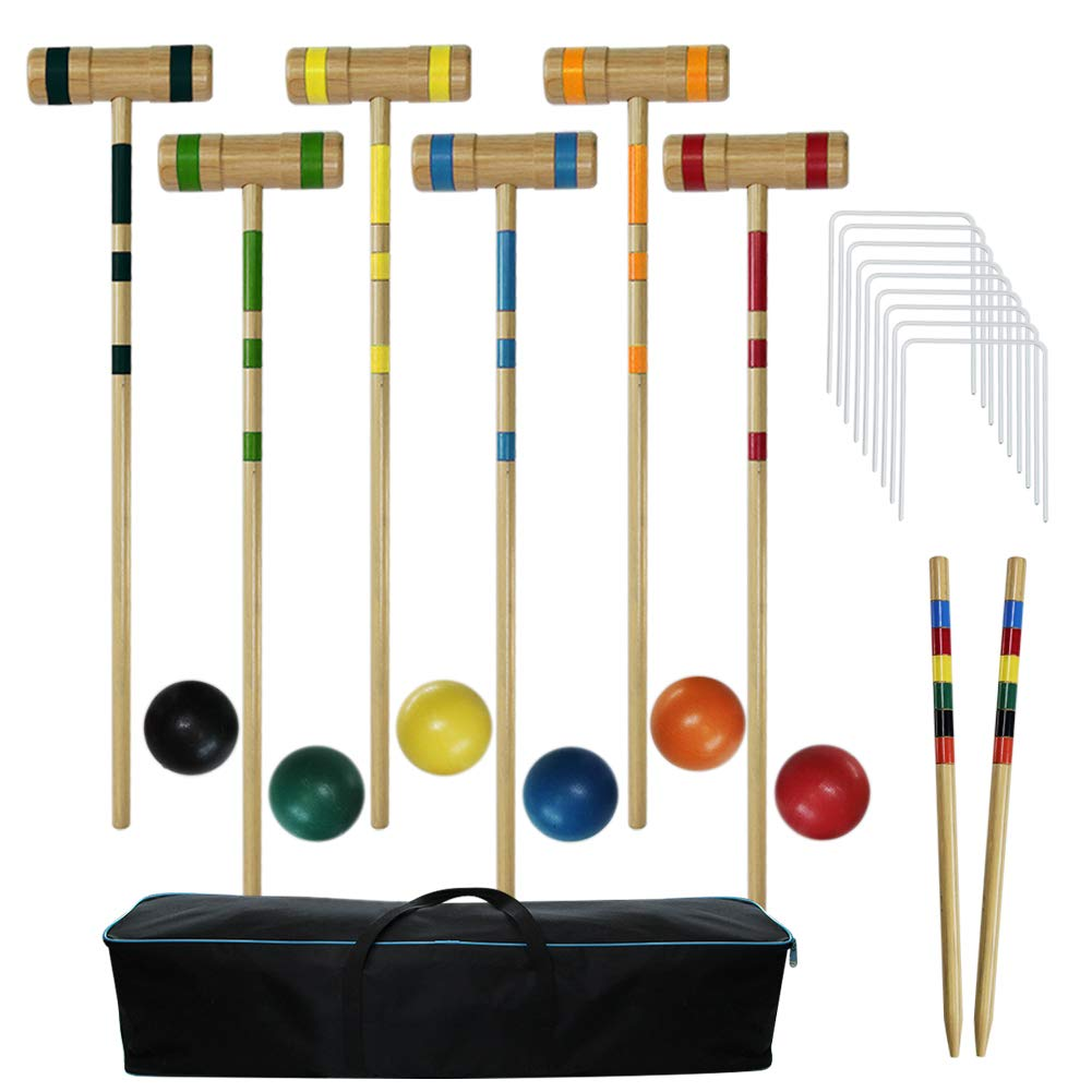 Juegoal Upgrade Six Player Croquet Set for Adults Kids Family with Carrying Bag, 32 Inch by Juegoal (Image #1)
