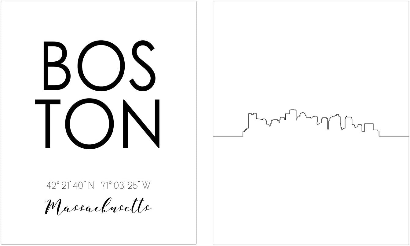 TnT Prints - Boston Skyline Art - Set of 2 (8x10) Glossy Boston Wall Art - Minimalist Cityscape Art Prints