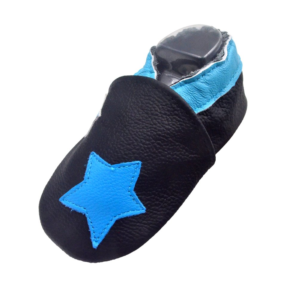 d9e7625e7ca33 iEvolve Baby Shoes Baby Toddler Soft Sole Prewalker First Walker Crib Shoes  Baby Moccasins (18-24 Months, Blue Stars)
