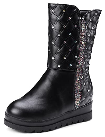Women's Trendy Sequined Plaid Round Toe Invisible Medium Wedge Heel Platform Pull on Mid Calf Snow Boots