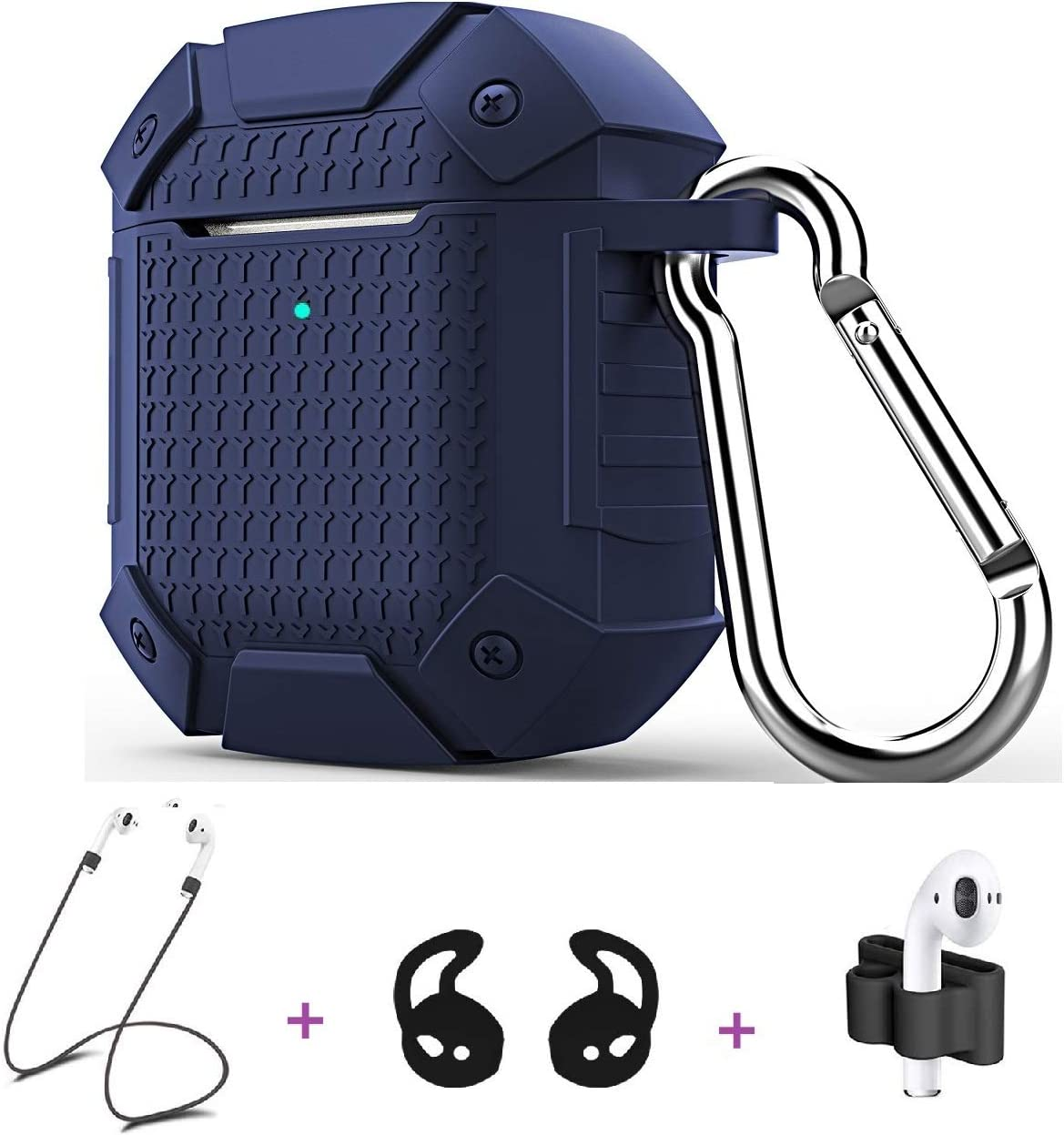Jiarusing Airpods Case Cover, Protective Silicone AirPods Skin Accessories Military Drop Tested Kit Cover Compatible AirPods 1&2 Charging Case with Carabiner+Strap+Earhook [Front LED Visible]