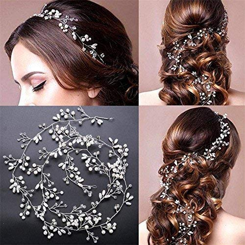 Fashion Hair Jewelry Bridal Headband Pearl Crystal Headpieces Wedding Hair Accessories for Women Girls (Silver) Kanical