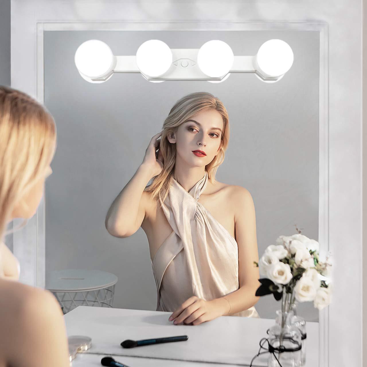 con 4 luces LED para cuarto de ba/ño o tocador recargable L/ámpara de maquillaje port/átil profesional temperatura de color ajustable