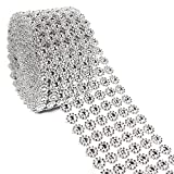 Rhinestone Ribbon - 11-Yard Silver Diamond Flowe-Shape Mesh Wrap Roll for DIY, Wedding Cake Decorations, Birthday Party Supplies, 3.9 inches in Width
