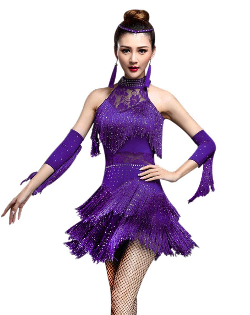 ZX Women's Rhinestone Tassel Flapper Latin Rumba Dance Dress 4 Pieces Outfits (Large, Purple) by ZX