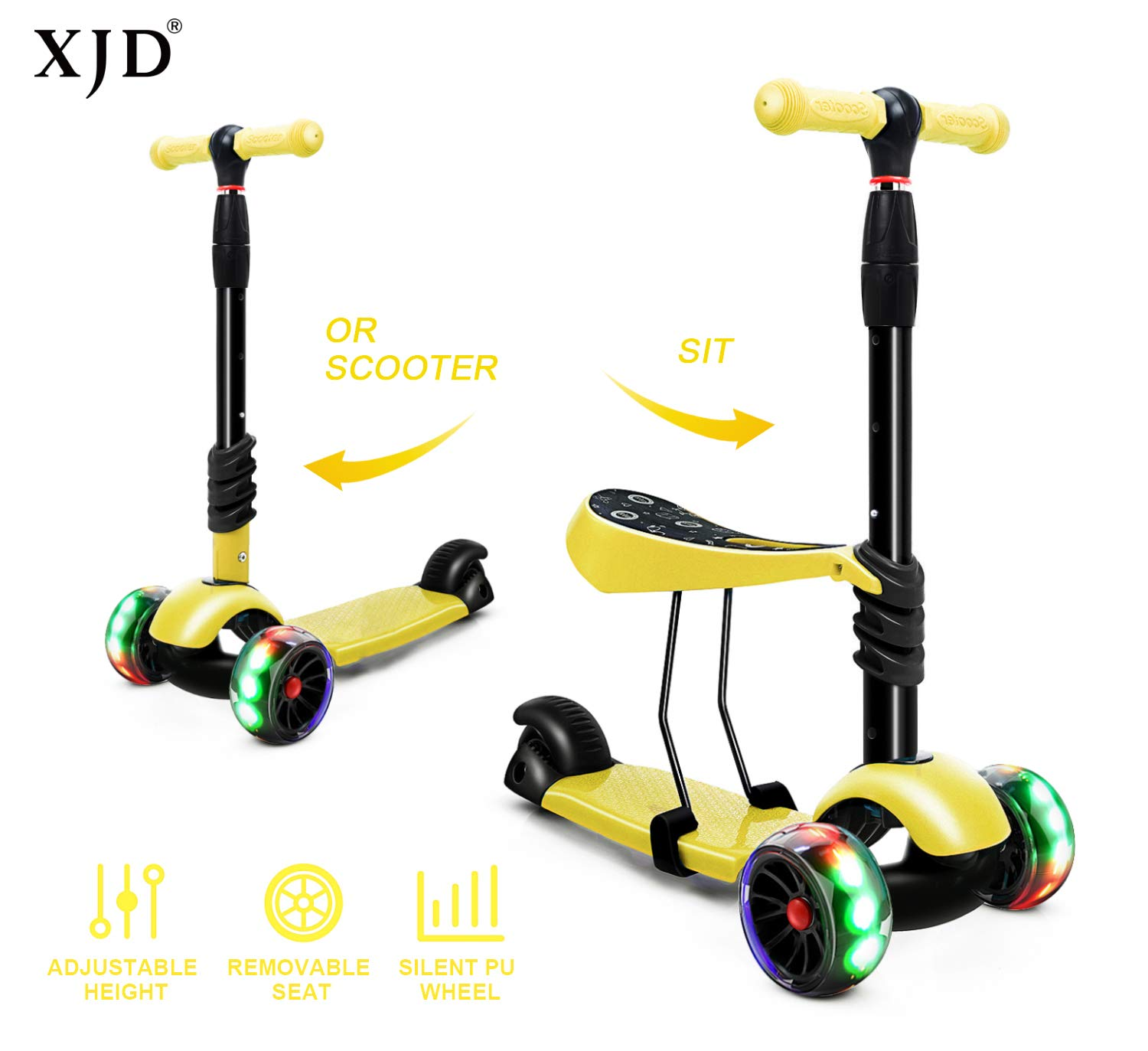 Yellow XJD 3-in-1 Kick Scooter for Kids Toddler Scooter Boys Girls with Removable Seat 5Cm Big Pu Flashing Wheels Adjustable Height Handlebar Children Scooter Age 3-8 Years Old