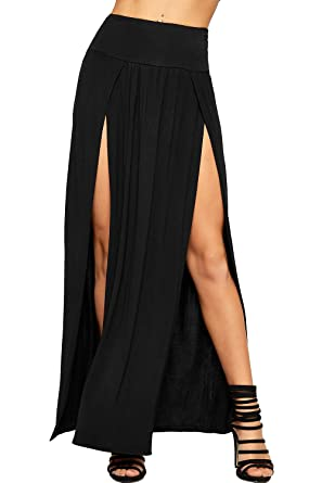 b13f5588c21b WearAll Womens Double Split Maxi Long Skirt Plain Basic Two Side ...