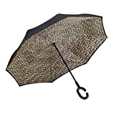 Ylovetoys Inverted Umbrella Double Layer Windproof Reverse Umbrella for Car and Outdoor Use (Leopard)