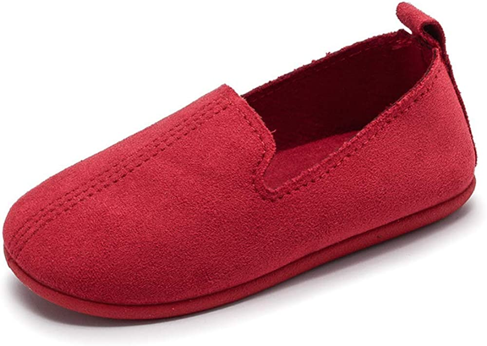 SOFMUO Toddler Boys Girls Suede Loafers Slip-On Boat Dress Flats Schooling Daily Casual Walking Shoes Toddler//Little Kid Red,27