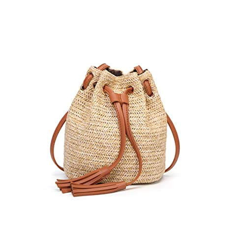 Sgarr Women Straw Handbags Fashion Designer Summer Beach Shoulder Bag New Casual Bamboo Handle Ladies Woven Bucket Crossbody Bag Shoulder Bags Luggage & Bags