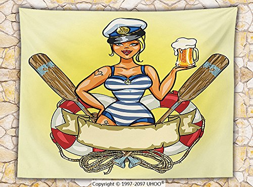 Girly Decor Fleece Throw Blanket Pin-Up Sexy Sailor Girl in Lifebuoy with Captain Hat and Costume Glass of Beer Feminine Design Throw