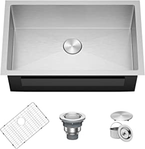 X Home 32 x 19 Inch Undermount Kitchen Sink Single Bowl, 16 Gauge Stainless Steel Kitchen Workstation Sink with R10 Corners, Fits 35 Inch Cabinet
