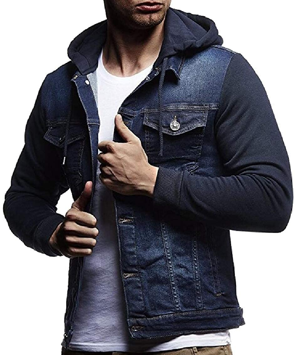 Keaac Men Coat Slim Single Breasted Long Sleeves Denim Hoodies Jackets