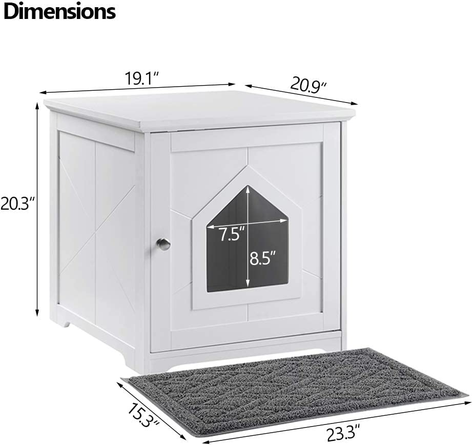 Unipaws Cat Litter Box Cover Enclosure Cat Washroom Storage Bench Spacious Storage Grey Small Easy Assembly Fit Most of Litter Box Sturdy Wooden Structure Indoor Cat House