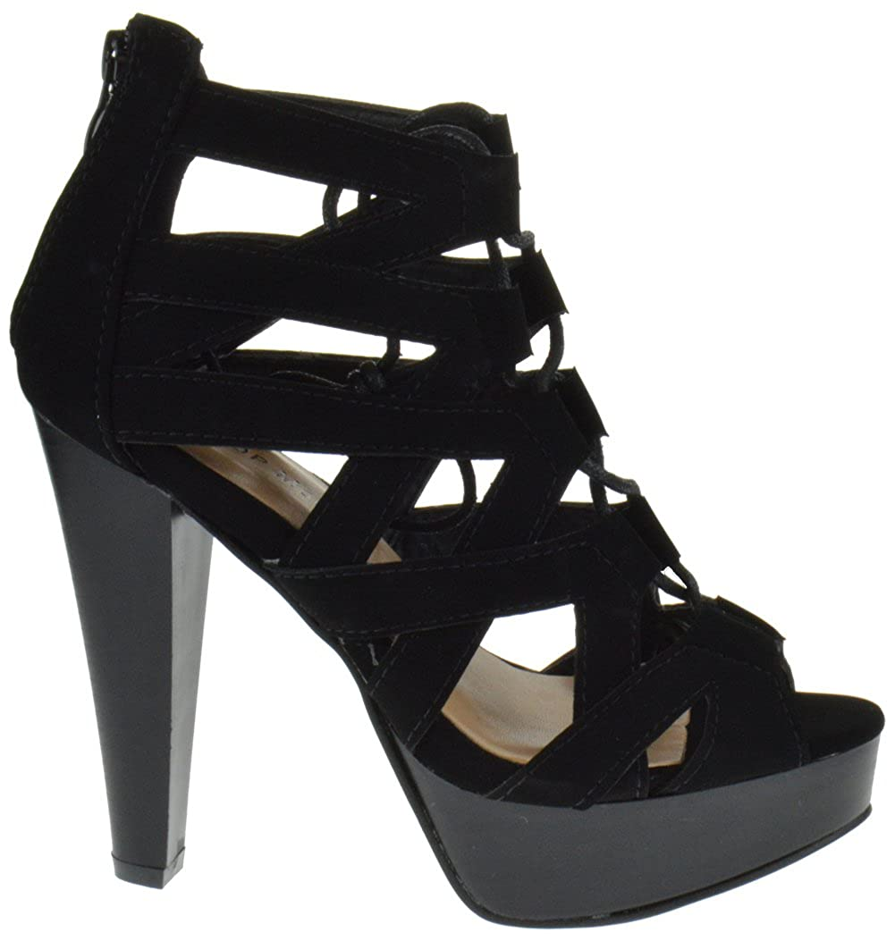 a9c5a372873 TOP Moda Table 8 Peep Toe High Heel Lace Up Strappy Pumps