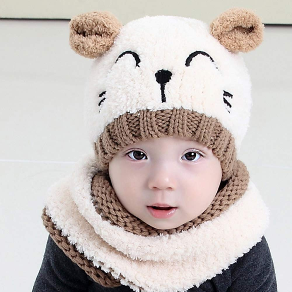 0dfba082a7c Baby Toddler Winter Hat Scarf Set Cutest Girls Boys 3d Earflap Dual