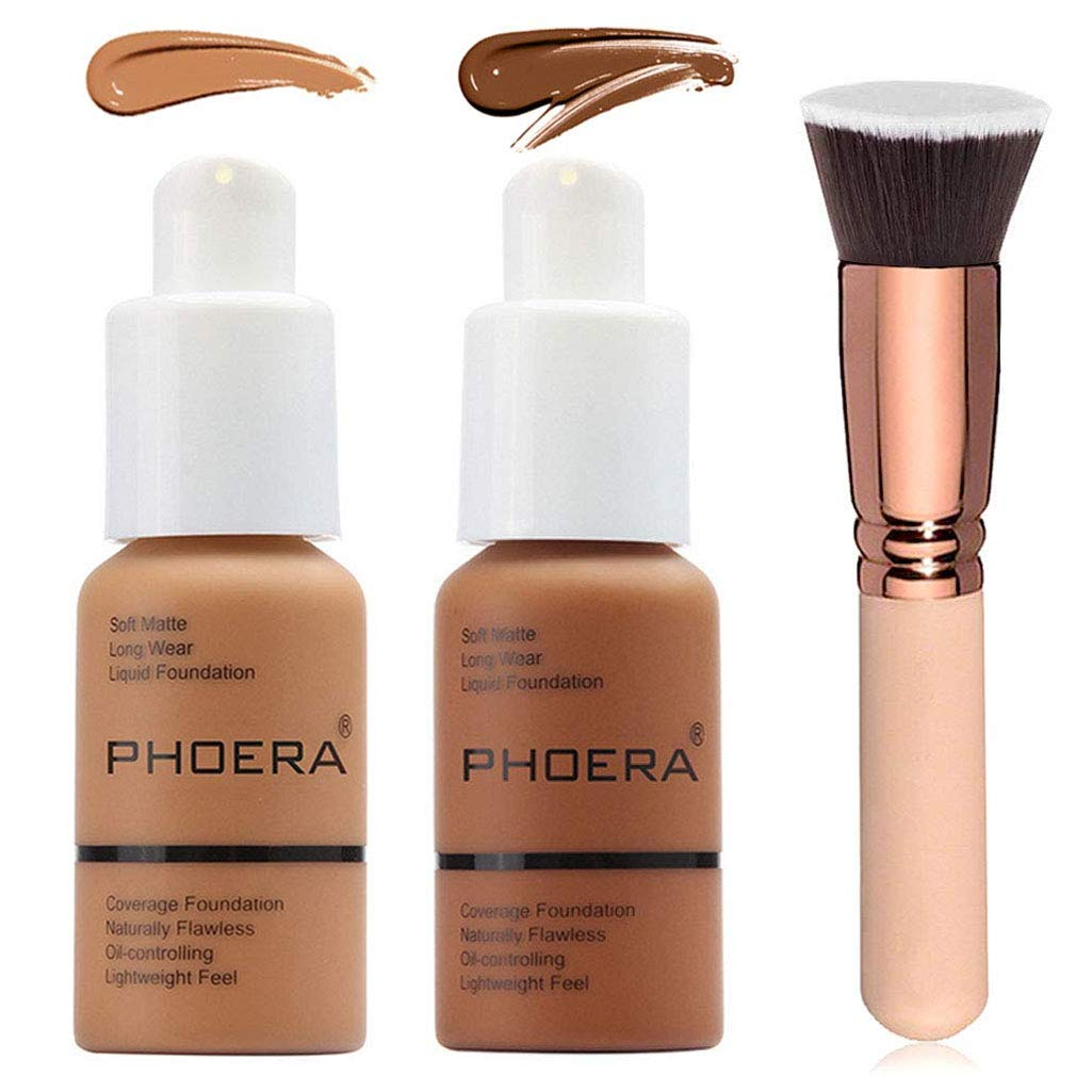 2 Colors Phoera Foundation 108 & 109 Full Coverage Foundation Liquid Makeup with Foundation Brush, Matte Oil Control Facial Blemish Concealer Foundation for Black Women (108#Tan &109Mocha)