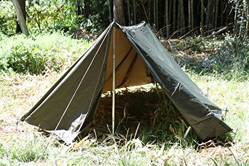 Army Military Tent Shelter Half W/poles and Stakes