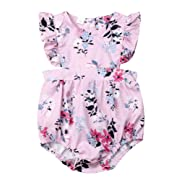 Newborn Kids Baby Girls Clothes Floral Outfits Set Romper with Headband Fall Bodysuit (0~6months, Floral)