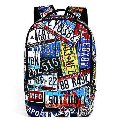 Ryse Womens / Mens Fashionable Trendy Patchwork Pattern Backpack Large Capacity Students Bookbag(Colorful)