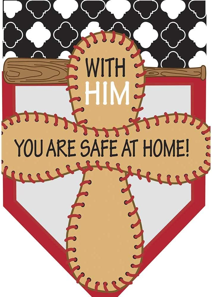 Magnolia Garden Cross Safe at Home Baseball 42 x 29 Pendant Shape Double Applique Large House Flag