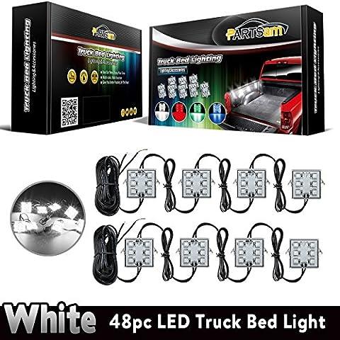 Partsam Universal Waterproof White LED Truck Bed/Rear Work Box Lighting Kit Trunk Light for 1994-2010 Dodge Ram 1500 2500 - Dodge Ramcharger Truck