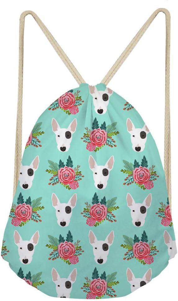 HUGS IDEA Flower Yorkie Terrier Print Gympack String Sack Drawstring Backpack for Women Beach Shopping