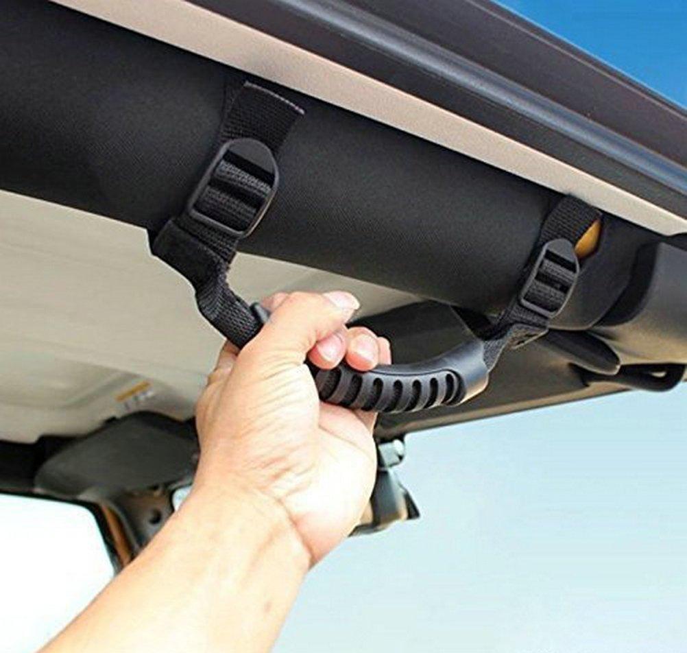 4 x Grab Handles Grip Handle for Jeep Wrangler Accessories YJ TJ JK JK JL JLU Sports Sahara Freedom Rubicon X & Unlimited 1995-2018 (Black)