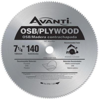 Avanti 7-1/4 in. x 140-Teeth OSB/Plywood Saw Blade-A07140A - The Home Depot