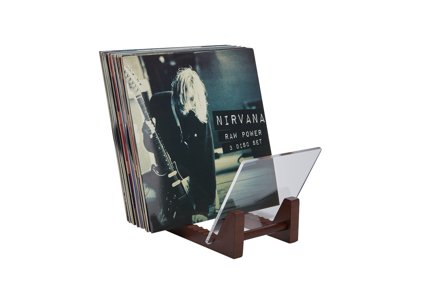Not Soft Pine Wood-Holds Up to 30 Albums Durable Acrylic -Eco-Friendly Display Stand /… Natural, 9.8 Modern 12 /& 7 LP Stand Display Holder - Saki Joy Hard Bamboo Desktop Record Storage