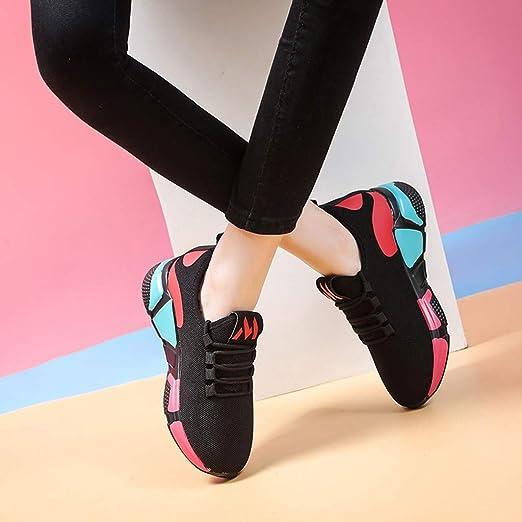 LuckyGirls Calzado Deportivo de Mujer Color de Mezcla Moda Zapatillas de Correr Casuales Zapatos Bambas con Cordones: Amazon.es: Deportes y aire libre