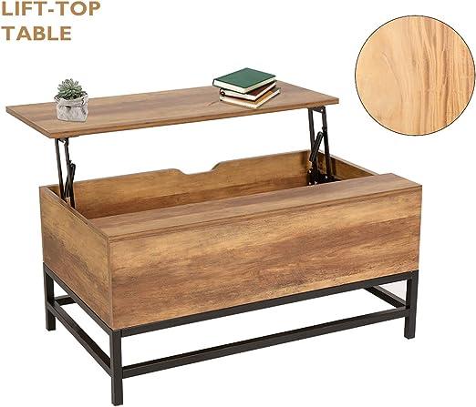 NeuTone - Mesa de café plegable con cajón oculto para salón y ...