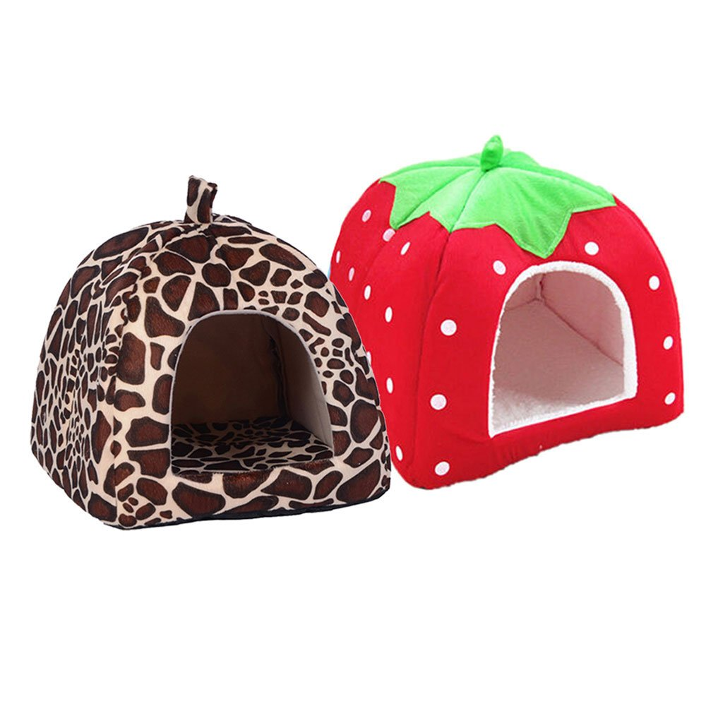 Daycount® Warm Soft Majestic Foldable Dog Cat Tent Bed Animal Cave Puppy Cute Pet Cat House 5 Sizes (Large, Strawberry) by Daycount® (Image #5)