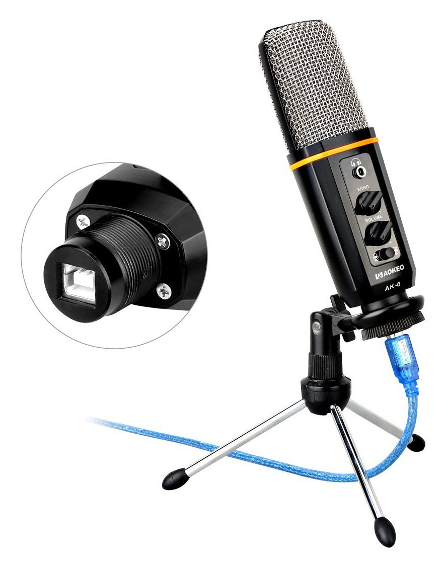 Aokeo's AK-6 Desktop USB Condenser Microphone, Best For Live Podcasting, Broadcasting, Skype, YouTube, Recording, Singing, Streaming, Video Call, Conference, Gaming, Etc. With Mount Stand, Plug & Play by aokeo (Image #7)