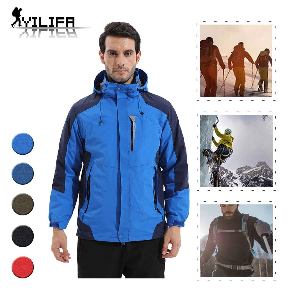 YILIFA wasserdichte Winddichte Herrenjacke, 3 in 1 atmungsaktive Windjacke mit Kapuze mit Reißverschlusstaschen für Outdoor-, Wander-, Ski- und Trekkingreisen,Royalblue,2XL